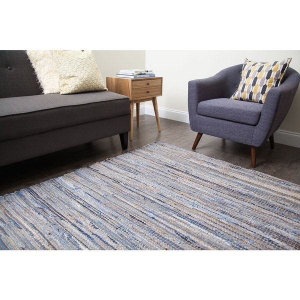 Hand Loomed Oki Denim Jute Rug 8 X 10 Free Shipping