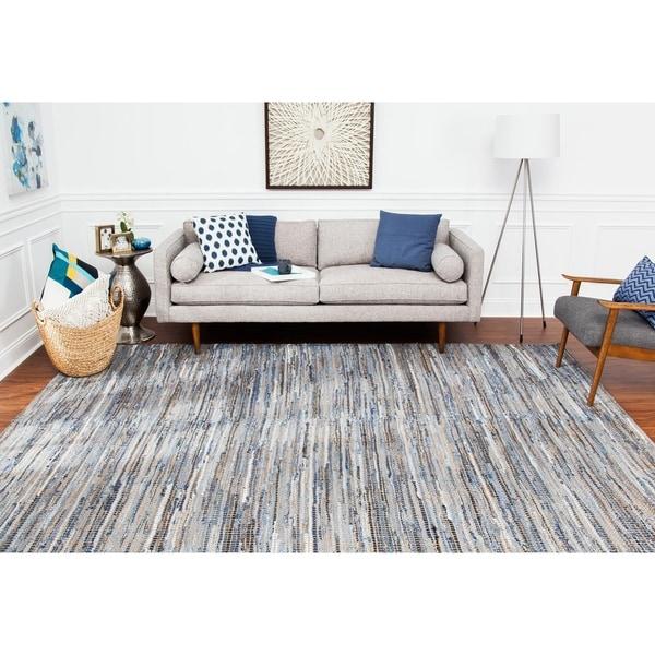 Jani Oki Blue/Beige Denim and Jute Handmade Casual Striped Rug - 8' x 10'