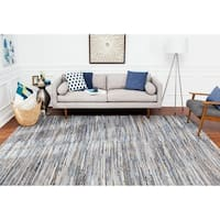 Jani Oki Blue/Beige Denim and Jute Handmade Casual Striped Rug - 8' x 10'