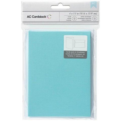 American Crafts A2 Cards & Envelopes (4.375 X5.75 ) 12/Pkg - Powder