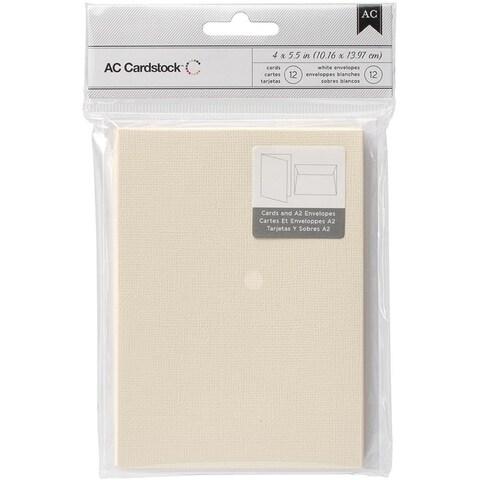 American Crafts A2 Cards & Envelopes (4.375 X5.75 ) 12/Pkg - Vanilla