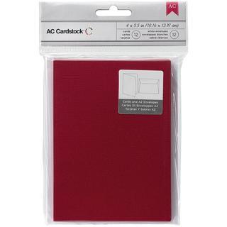 American Crafts A2 Cards & Envelopes (4.375 X5.75 ) 12/Pkg - Rouge