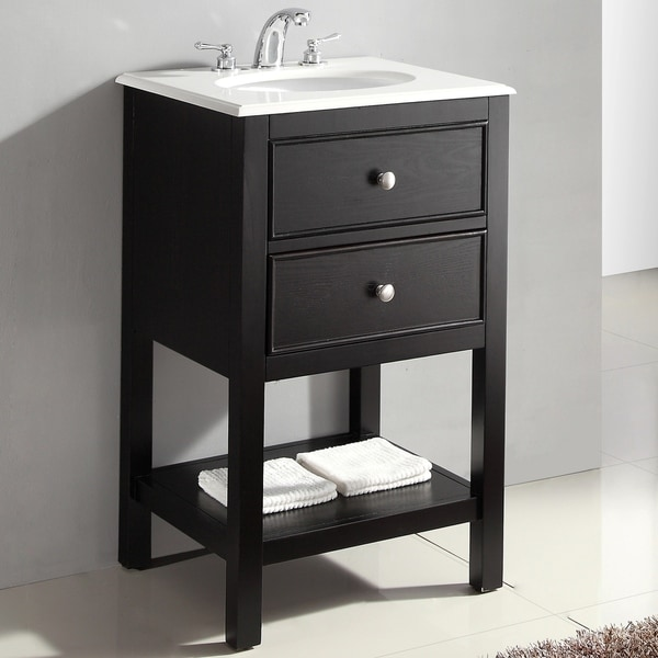 WYNDENHALL Fairfield 20 inch Contemporary Bath Vanity in Black with Bombay White Engineered Quartz Marble Top
