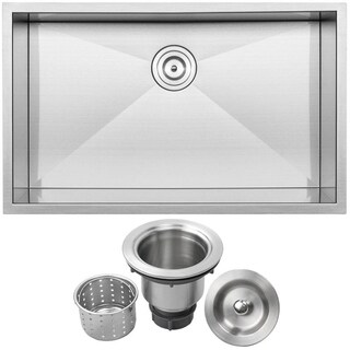 "32"" Ticor S3510 Pacific Series 16-Gauge Stainless Steel Undermount Single Basin Zero Radius Kitchen Sink"
