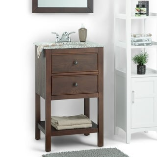 WYNDENHALL New Haven Walnut Brown 1-functional drawer 20-inch Bath Vanity Set with Dapple Grey Granite Top