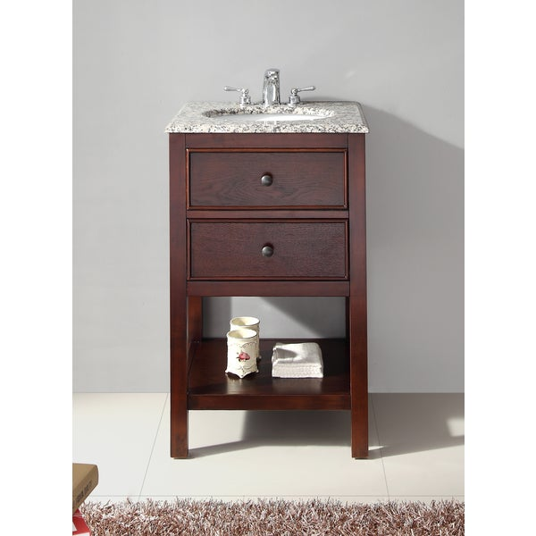 Wyndenhall New Haven Walnut Brown 1 Functional Drawer 20 Inch Bath Vanity Set With Dapple Grey