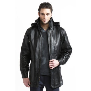 Tanners Avenue Men's Leather Belted 3/4-length Coat with Zip-out Liner