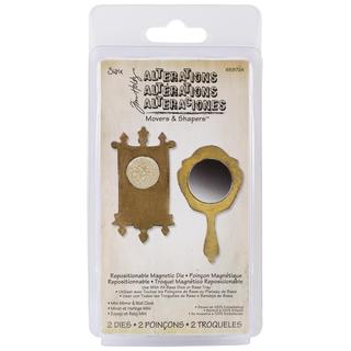 Sizzix Movers & Shapers Magnetic Dies By Tim Holtz 2/Pkg - Mini Mirror & Wall Clock