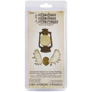 Sizzix Movers & Shapers Magnetic Dies By Tim Holtz 2/Pkg - Mini Lantern & Antlers