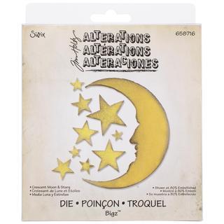 Sizzix Bigz Die By Tim Holtz 5.5 X6 - Crescent Moon & Stars