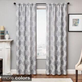 Softline Loren Embroidered Rod Pocket Curtain Panel