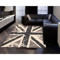 Hand-tufted Siam Charcoal Grey Wool Area Rug (3'6 x 5'6) - 3'6 x 5'6