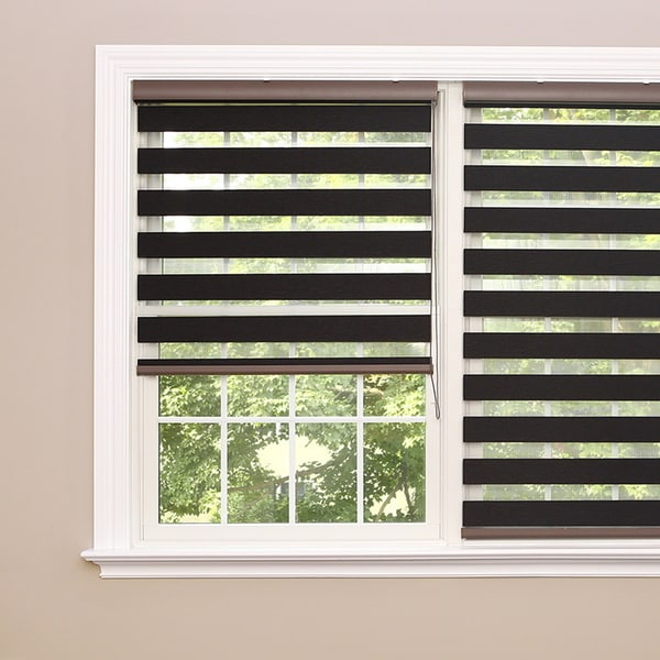Aurora Home Premium Charcoal Wood Look Duo Roller Window Shade