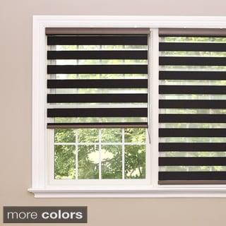 Aurora Home Premium Charcoal Wood Look Duo Roller Window Shade