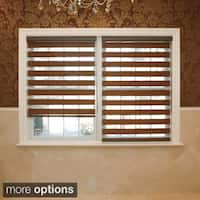 Aurora Home Premium Duo-roller Brown Wood Look Window Shade