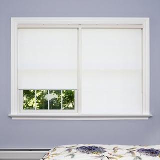 Aurora Home Premium White Wood Look Roller Window Shade