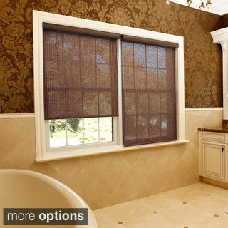Aurora Home Premium Single-roller Brown Fabric Window Shade