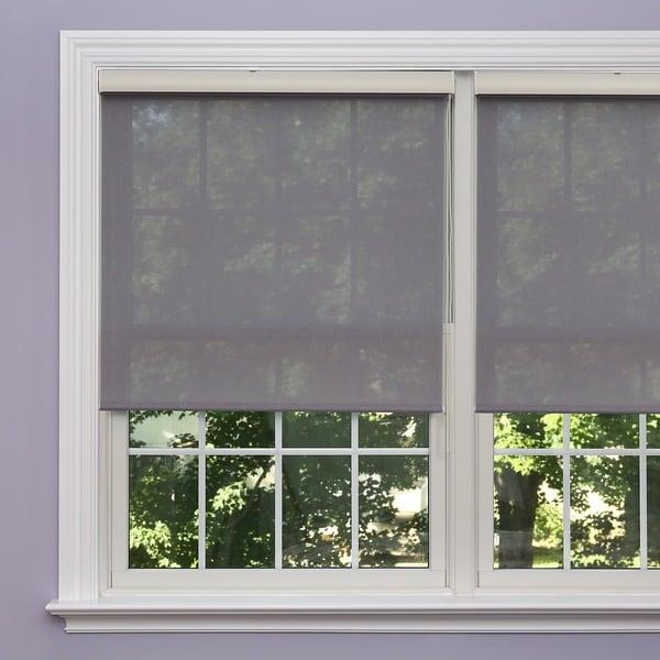 Aurora Home Premium Grey Linen Look Roller Window Shade Free
