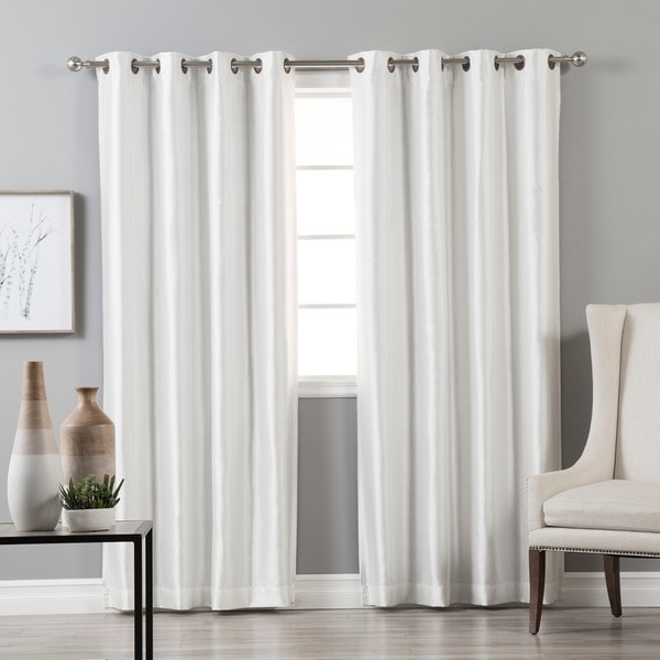 Aurora Home Grommet-Top Faux Silk Blackout Curtain Panel Pair