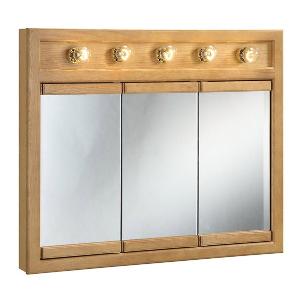 mirrored bathroom cabinet with light shop design house richland nutmeg oak lighted 3 door 23382