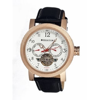 Heritor Men's Millennial White Dial Black Leather Analog Chronograph Watch