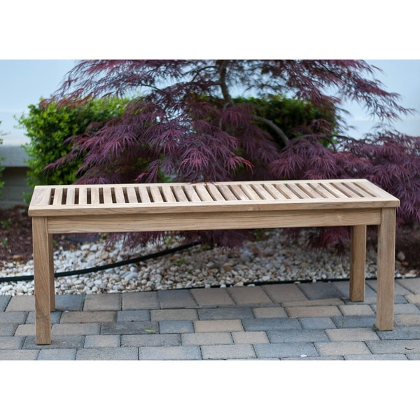 Shop Solid Teak 5 Foot Backless Bench Free Shipping