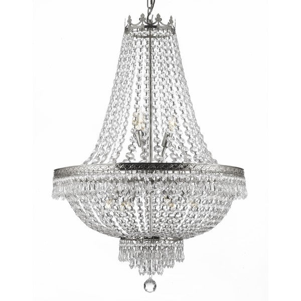 Gallery 9-light Silver/ Empire Crystal Chandelier - Free Shipping ...