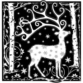 Crafty Individuals Unmounted Rubber Stamp 4.75 X7 Pkg - Magical Reindeer