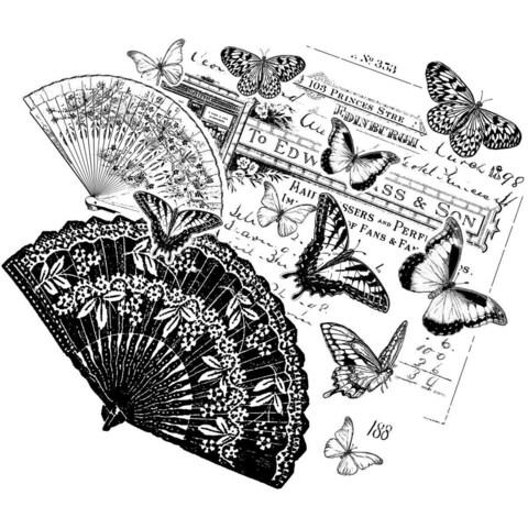 Crafty Individuals Unmounted Rubber Stamp 4.75 X7 Pkg - Oriental Fans