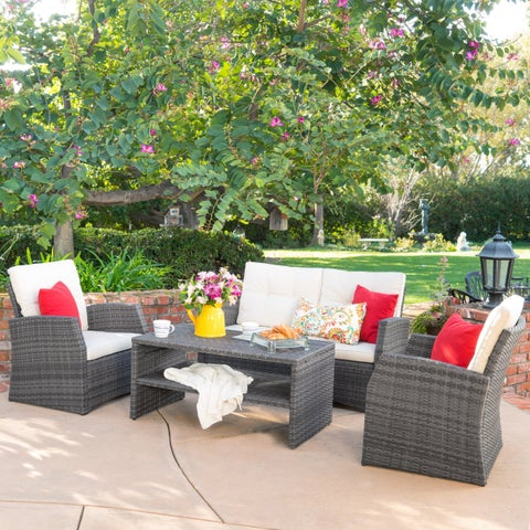 Sanger Outdoor 4-piece Wicker Seating Set by Christopher Knight Home