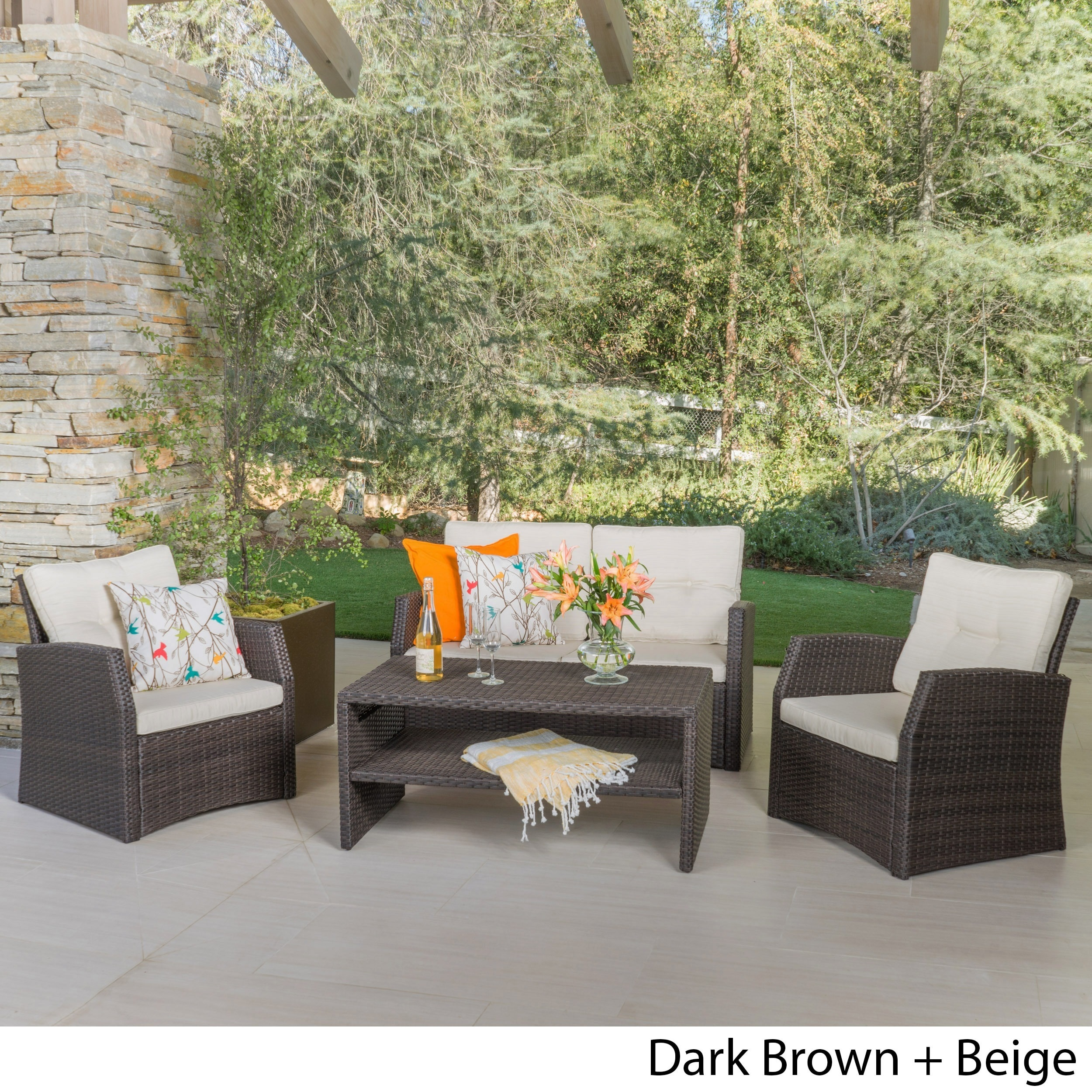 Sanger Outdoor 4-piece Wicker Seating Set by Christopher Knight Home (3 options available)