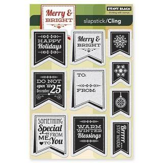 Penny Black Cling Rubber Stamp 5 X7.5  Sheet - Christmas Banner