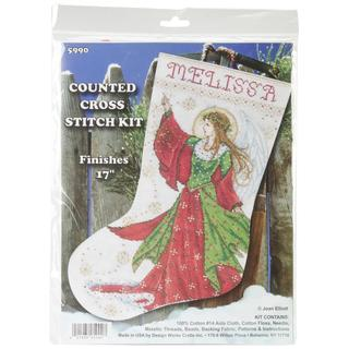 Angel Of Joy Stocking Counted Cross Stitch Kit - 17 Long 14 Count