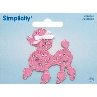 Jeweled Pink Poodle W/ Rhinestones Iron On Applique - 2 X2-1/4 1/Pkg