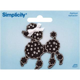 Jeweled Black Poodle W/ Rhinestones Iron On Applique - 2 X2-1/4 1/Pkg
