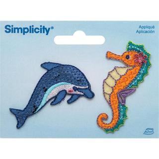 Dolphin & Seahorse Iron On Applique - 2.37 X1.12 2/Pkg