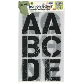 Soft Flex Iron-On Letters 3 Distressed - Black 5/Sheets