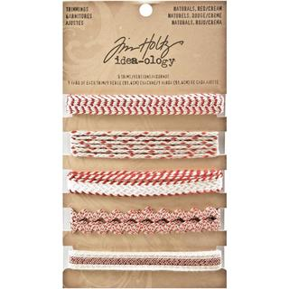 Tim Holtz Idea-Ology Naturals Trimmings 5 Styles/1 Yard Each - Red/Cream