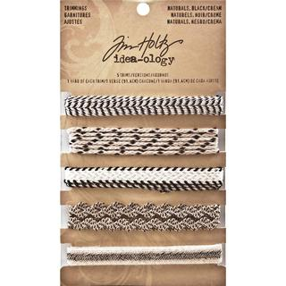 Tim Holtz Idea-Ology Naturals Trimmings 5 Styles/1 Yard Each - Black/Cream