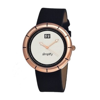 Simplify Men's Black Leather 'The 1300' White Watch