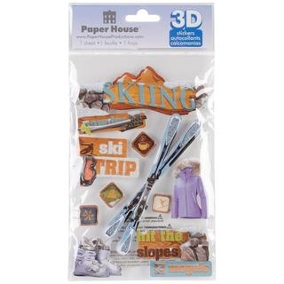 Paper House 3-D Sticker - Skiing