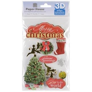 Paper House 3-D Sticker - Merry Christmas