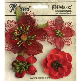 Mixed Textured Blossoms 4/Pkg - Red
