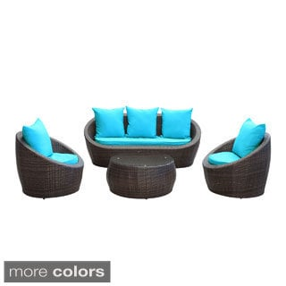 Avo Brown Wicker 4-piece Outdoor Patio Seating Set
