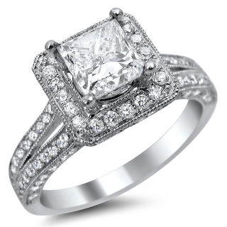 Noori 14k White Gold 1 3/4ct TDW Princess-cut Square Halo Diamond Engagement Ring (E-F, VS1-VS2)