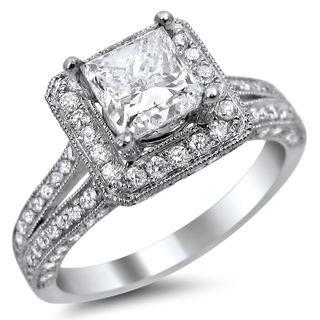 Noori 14k White Gold 1 3/4ct TDW Princess-cut Square Halo Diamond Engagement Ring