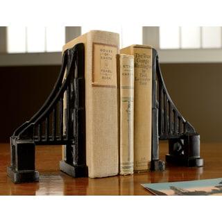Cast Iron Bridge Black Matte Bookends (Set of 2)