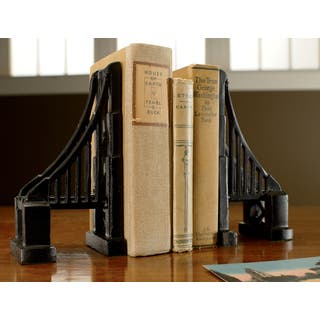 Cast Iron Bridge Black Matte Bookends (Set of 2) https://ak1.ostkcdn.com/images/products/8784486/Cast-Iron-Bridge-Black-Matte-Bookends-Set-of-2-P16023221.jpg?impolicy=medium