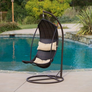 Outdoor Brown Wicker Swinging Lounge Chair by Christopher Knight Home