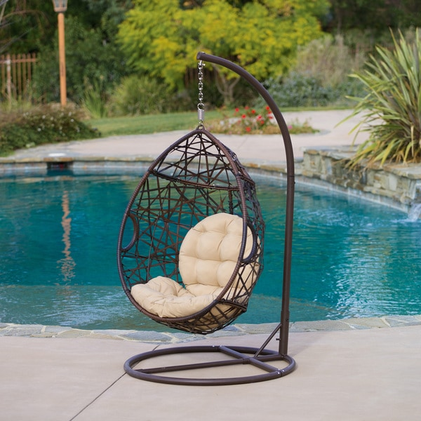 Beau Outdoor Brown Wicker Tear Drop Chair By Christopher Knight Home